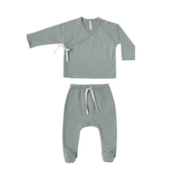Quincy Mae Rompers Kimono Top + Footed Pant Set - Ocean