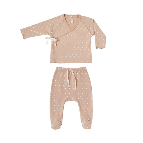 Quincy Mae Rompers Kimono Top + Footed Pant Set - Petal