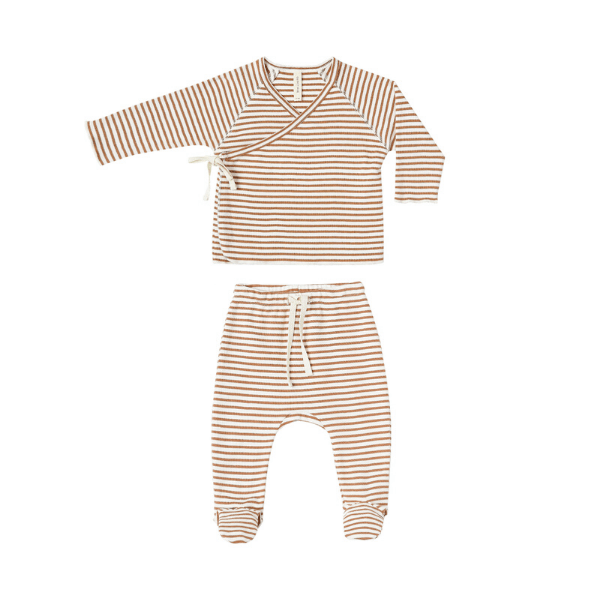 Quincy Mae Rompers Kimono Top + Footed Pant Set - Rust Stripe