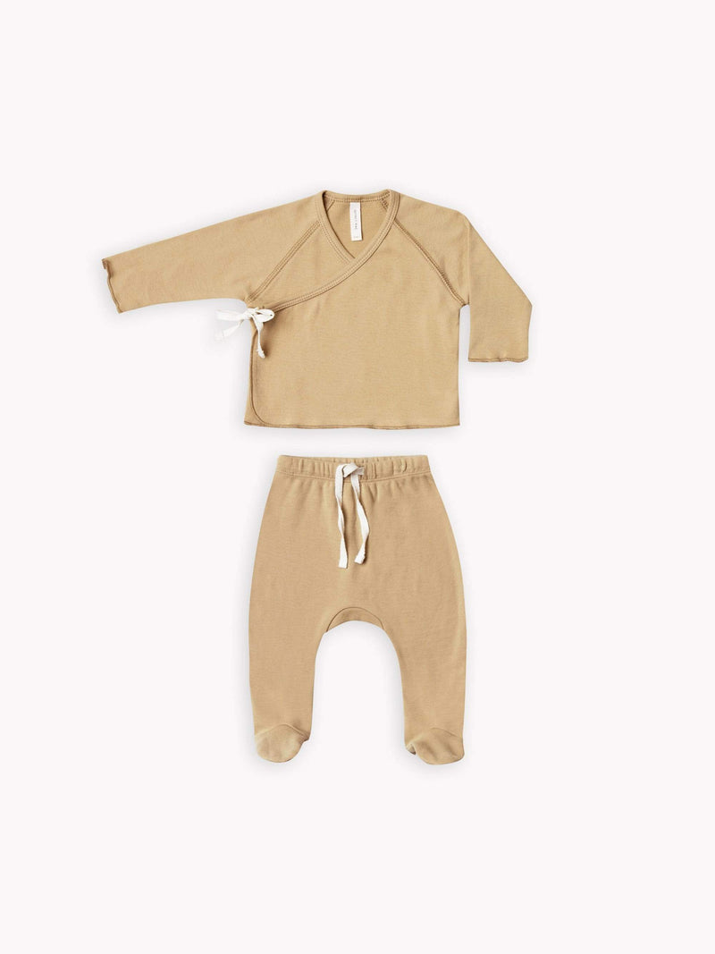 Quincy Mae Rompers NB Kimono Top + Footed Pant Set - Honey