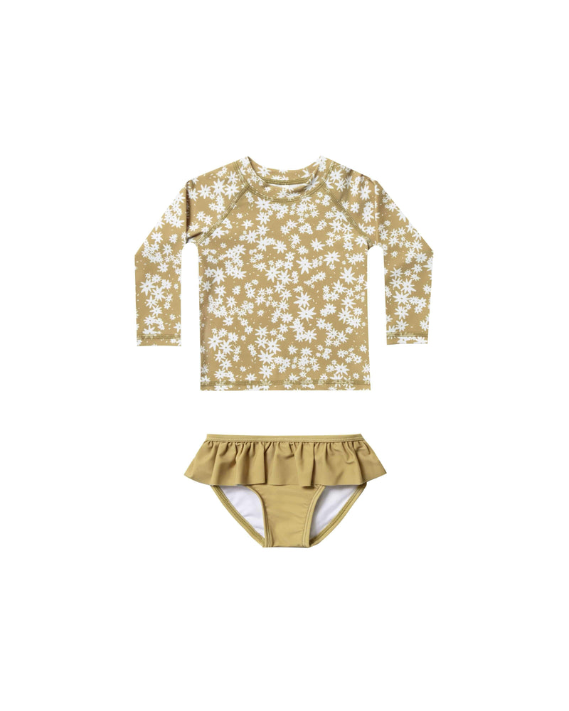 Rylee & Cru 1 Piece Swimsuit Scattered Daisy Rashguard Set - Citron