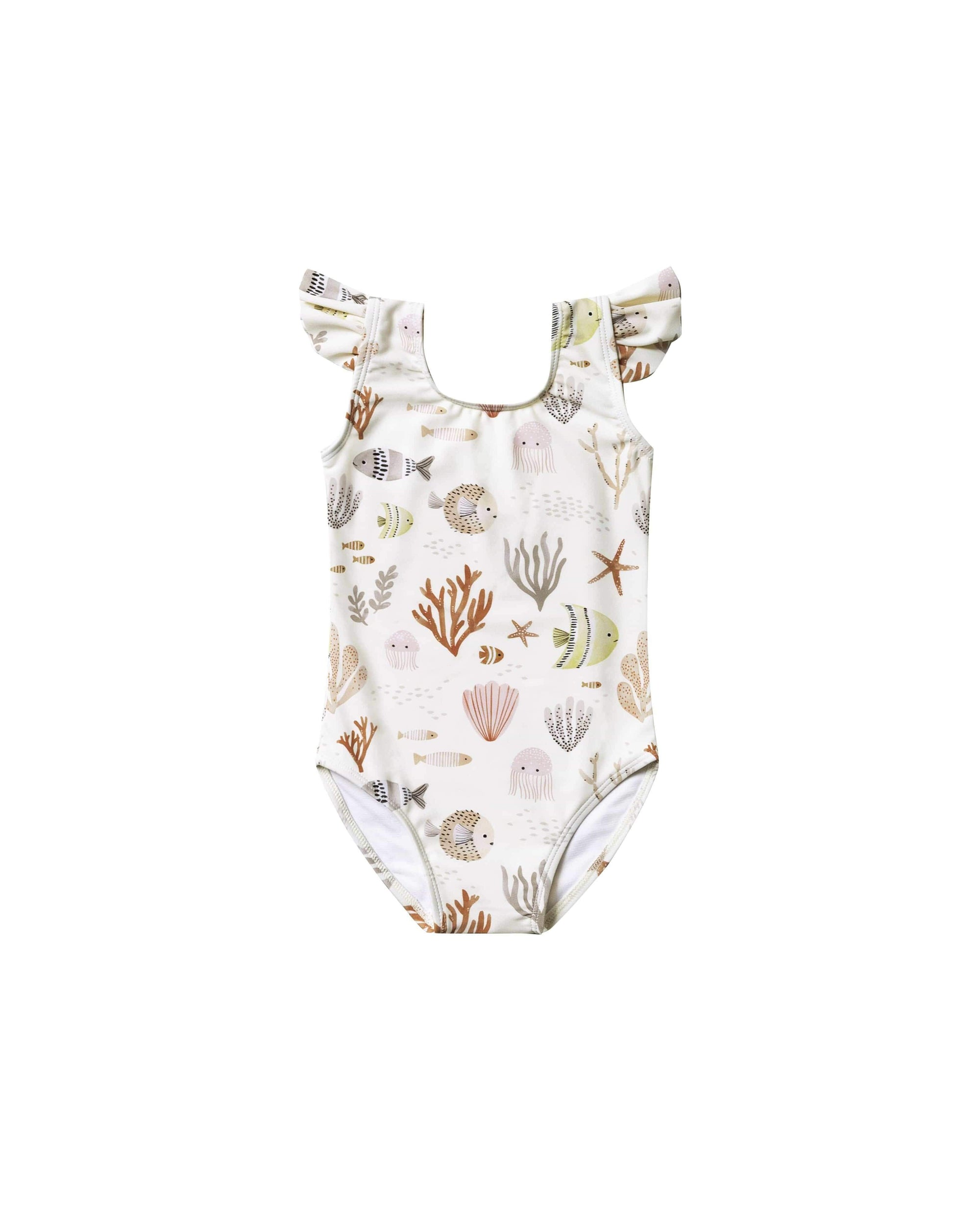 Rylee & Cru 1 Piece Swimsuit Sea Life Frill Onepiece - Ivory