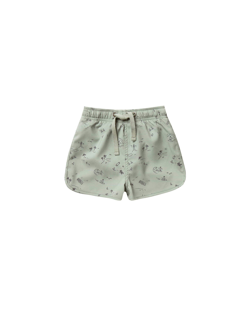 Rylee & Cru Shorts Beach Town Swim Trunk - Sea Form