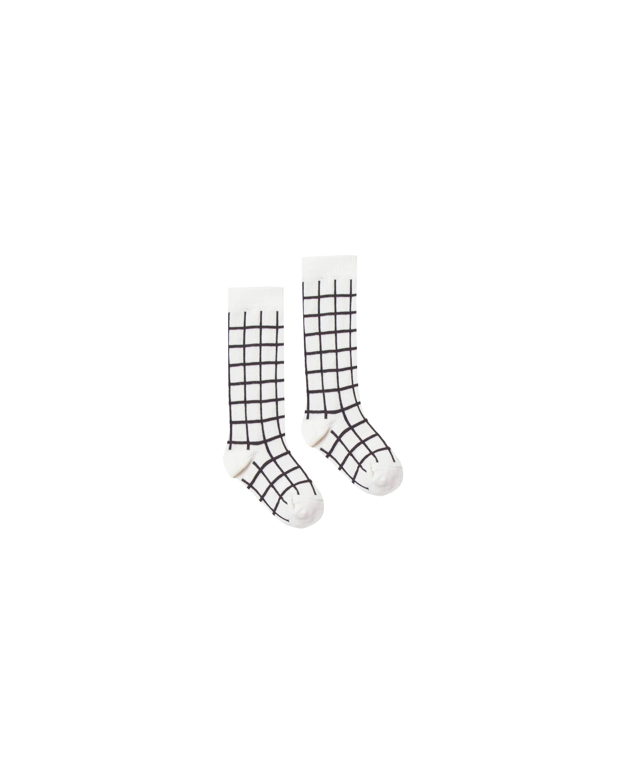 Rylee & Cru Check Socks - Black/Ivory