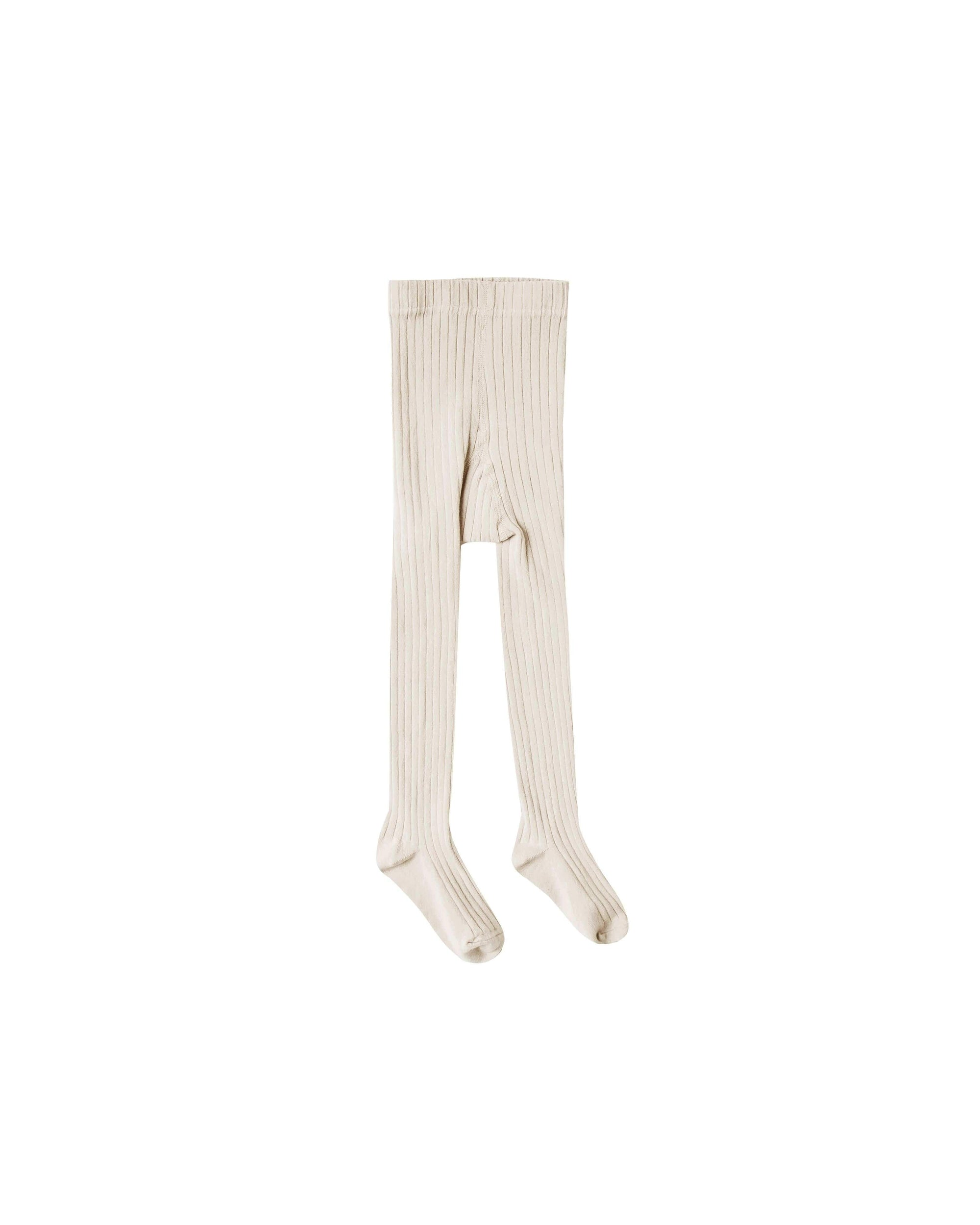 Solid Ribbed Tights -  Natural