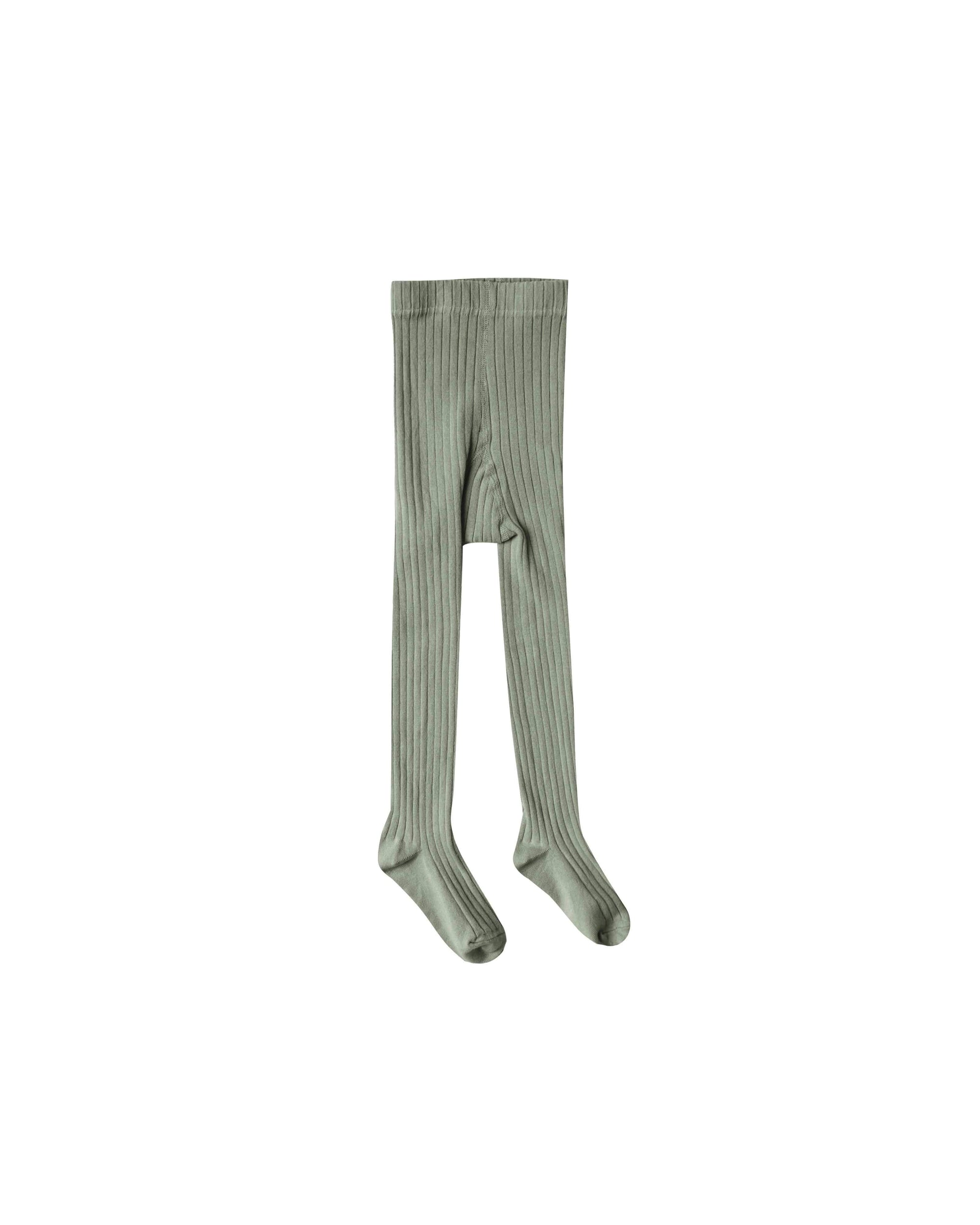 Solid Ribbed Tights - Olive
