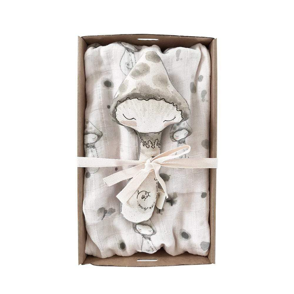 These Little Treasures Rattles Baby Rattle & Swaddle Pack - Mushroom