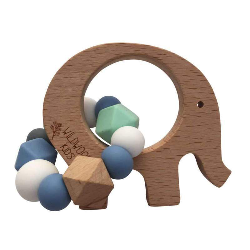 Elephant Teether - Blue Mix