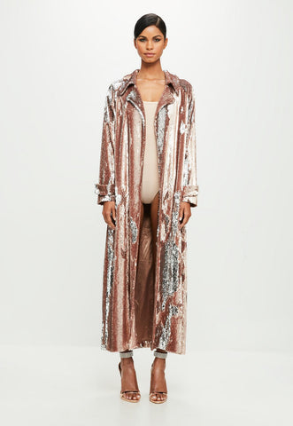 Nadia 2way sequin trench