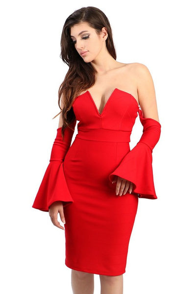 Rena off shoulder bell sleeve red dress