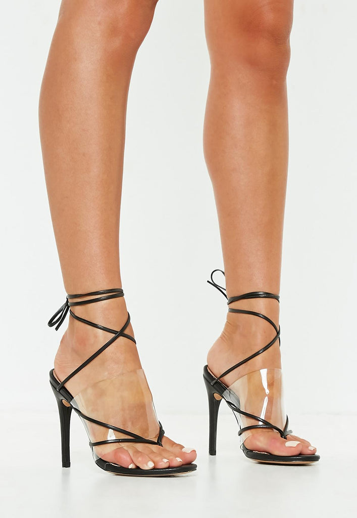 3e3e9700b Erin clear thong heels black