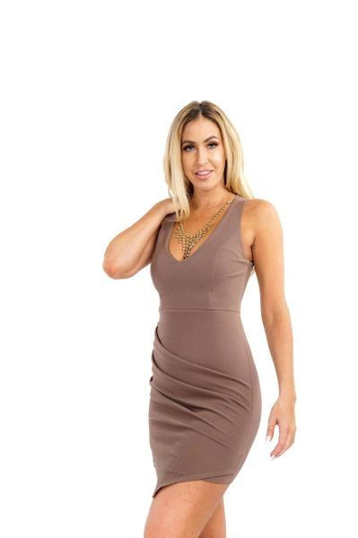 """ASHLIE"" BROWN ASYMMETRIC SHIFT DRESS"