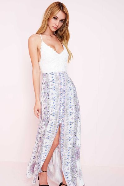 """ANNALISE"" WHITE PRINT BUTTON DOWN MAXI"