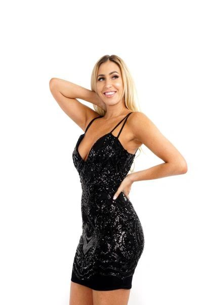 """BELLA"" BLACK SPARKLE DRESS"