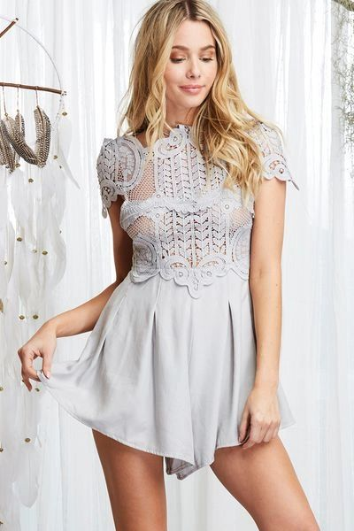 """BRIELLA"" GREY FANCY LACE ROMPER"