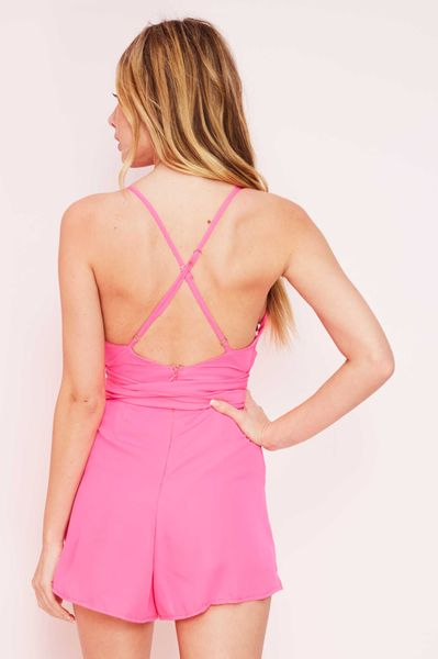 """CIARA"" PINK FRONT TIE ROMPER"