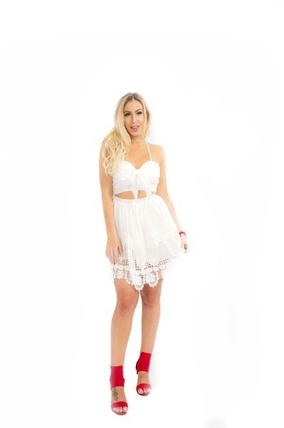 """GRACIE"" FRONT TIE CROCHET DRESS"