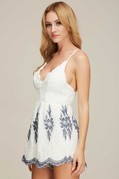 """GENEVIEVE"" LACED TOP ROMPER"