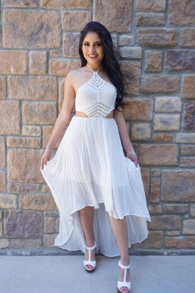"""LAURYN"" WHITE CROCHET HIGH & LOW DRESS"
