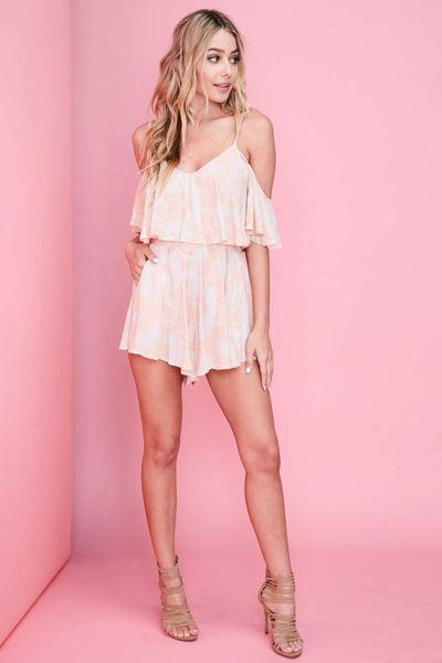 """PRESLEY"" PEACH OFF THE SHOULDER ROMPER"