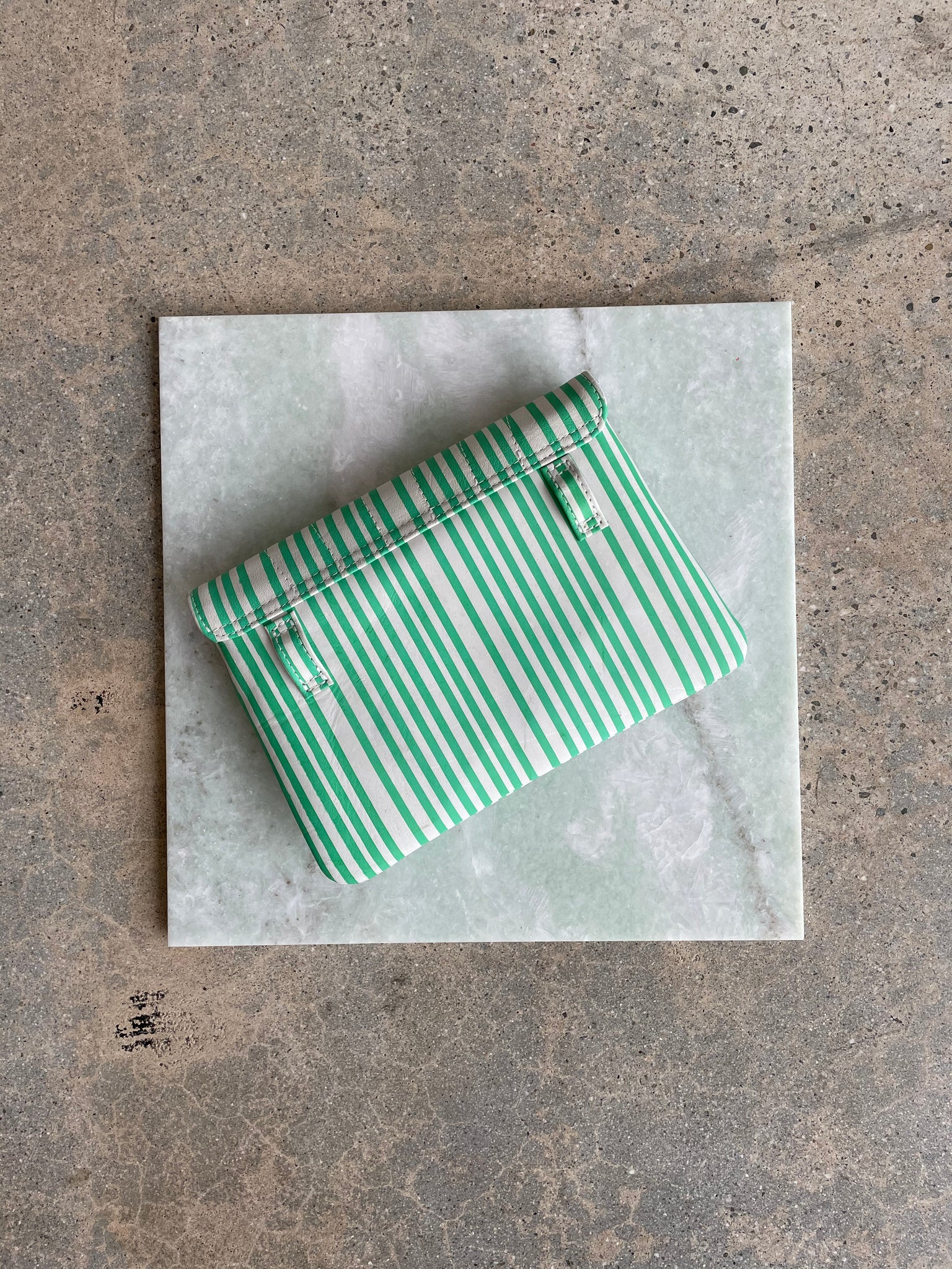 Shell Fanny Pack | Green and White Stripe