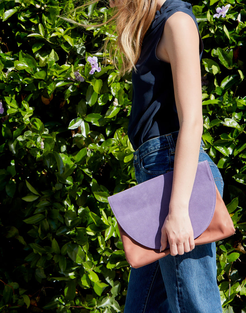 Jenna Large Clutch ~ Lavender | Terracotta