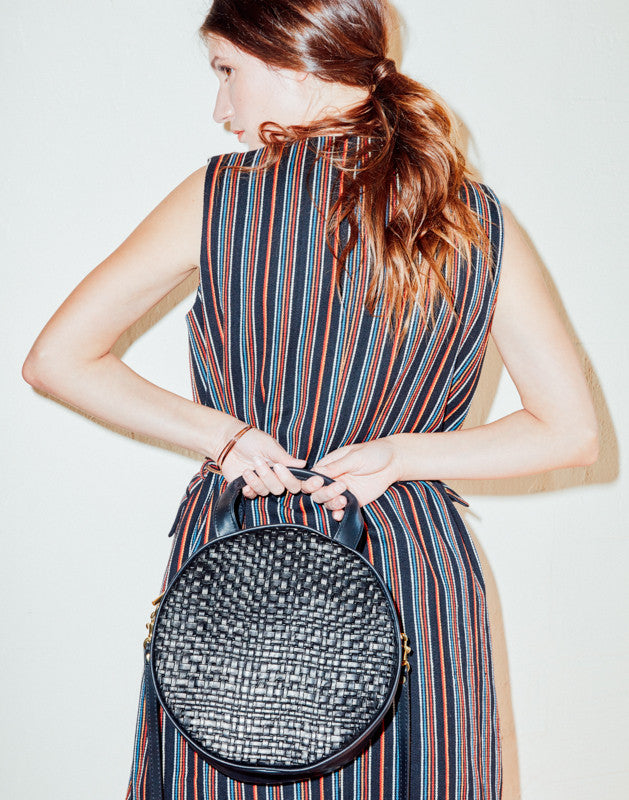 Lisa Circle Bag ~ Black Woven | Black