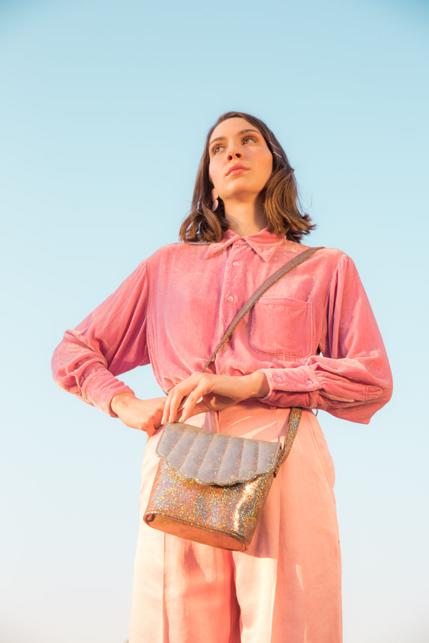 Blanche Shell Canteen | RAINBOW GLITTER Silver and Mauve