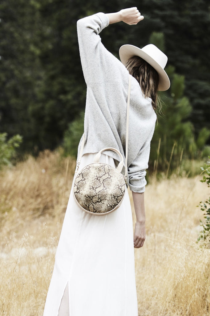 Lisa Circle Bag ~ Metallic Snake | Bone