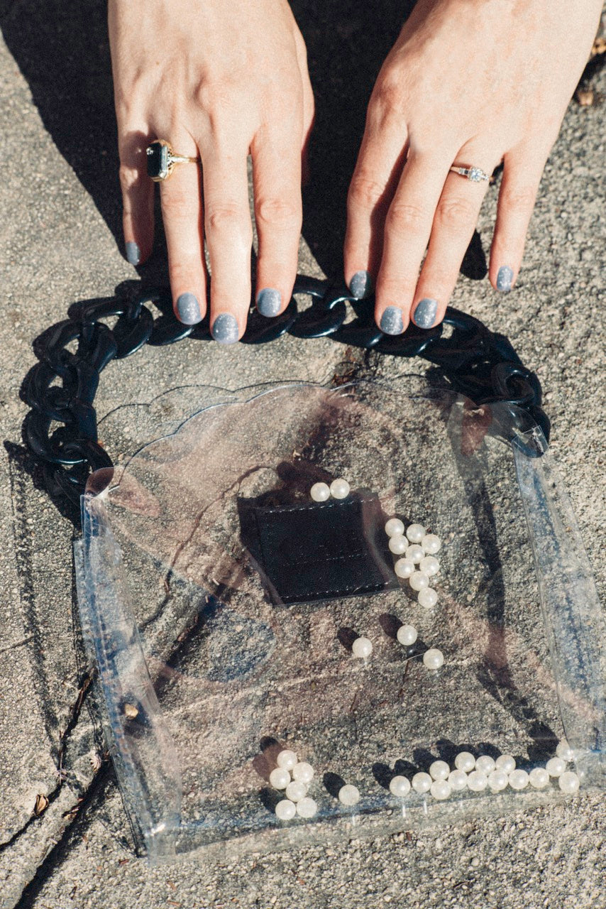 Eleanor Shell Bag Clear Vinyl with Black Acrylic Chain
