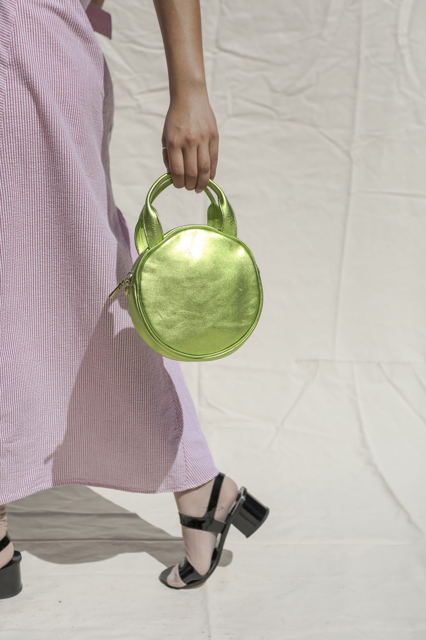 Mini Circle Bag | Lime Metallic