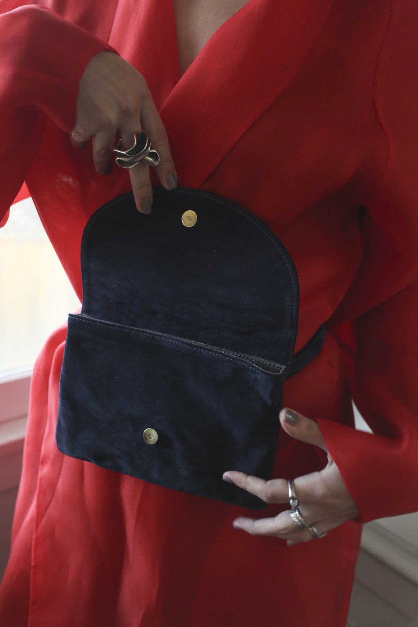 Star Fanny Pack | Navy Suede