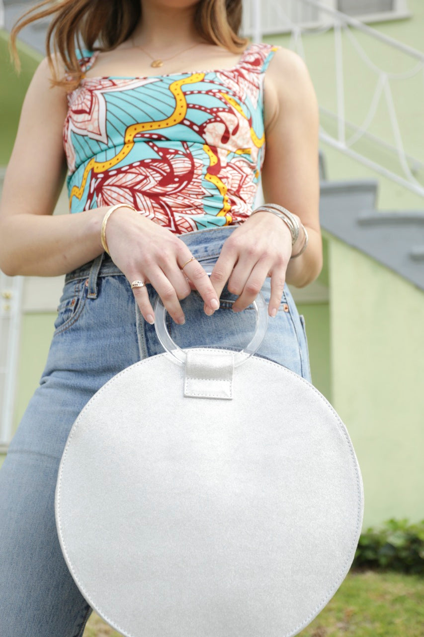 Florence Circle Tote with hand crafted in L.A. acrylic handles
