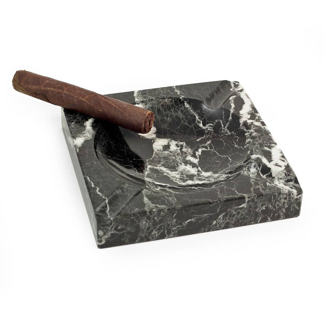 Black Marble Square Ashtray