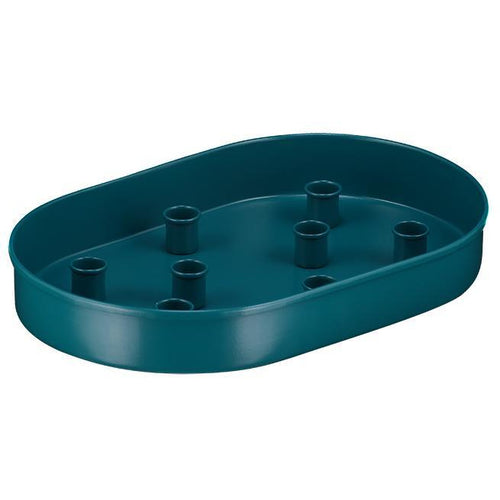 Oval Metal Candle Platter - Petrol