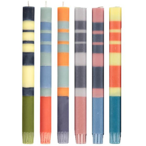 Thick Striped Candles - Set of 6