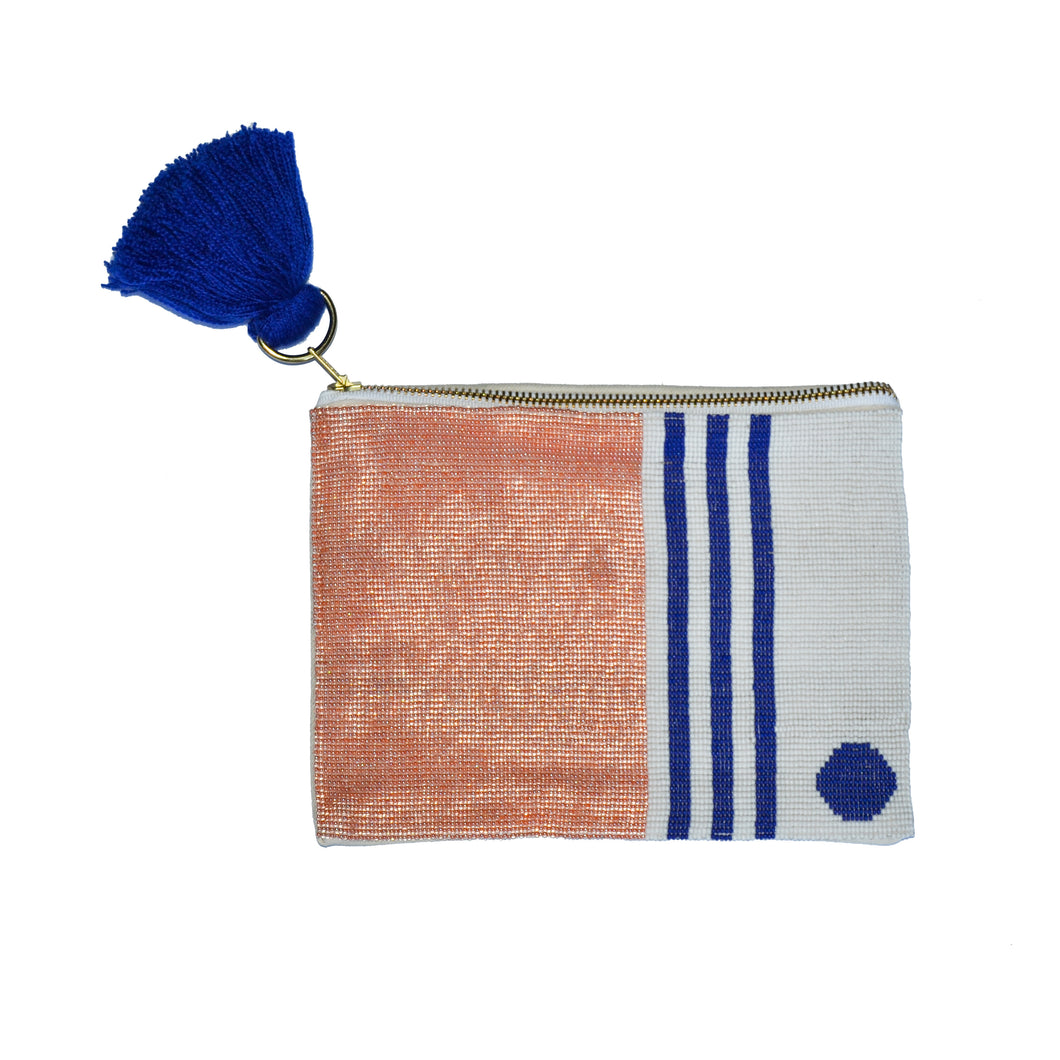 Stripes Dot Beaded Pouch