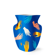 Load image into Gallery viewer, Hamsa Blue Mini Paper Vase