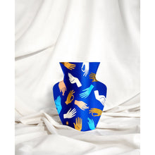 Load image into Gallery viewer, Hamsa Blue Paper Vase
