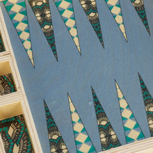 Load image into Gallery viewer, Deco Teal Travel Backgammon Set