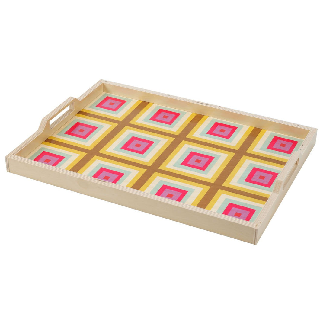 Squaresville Yellow Serving Tray