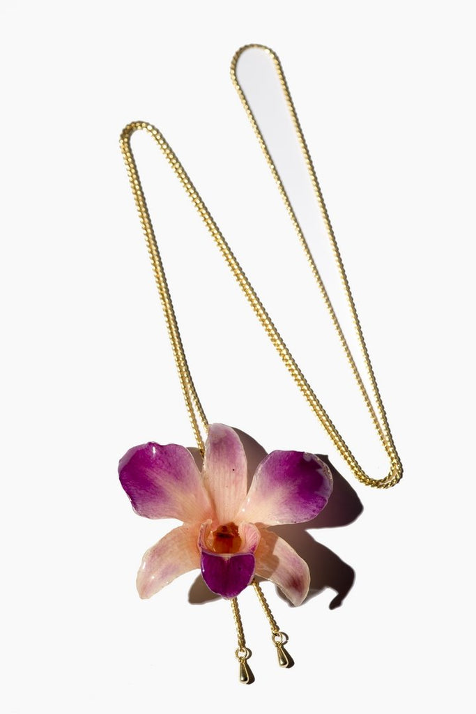 "Collier plaqué or ""Orchidée Naturelle Dendrobium"""
