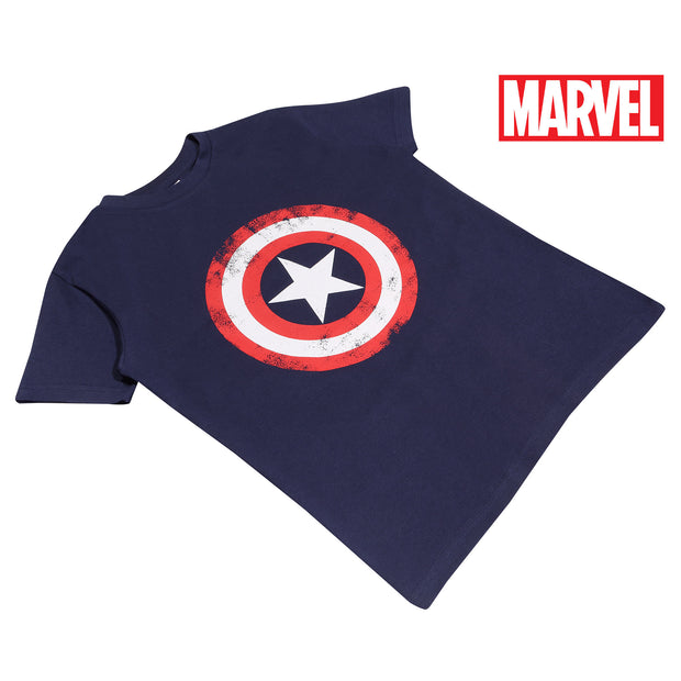 Marvel Avengers Assemble Captain America Distressed Shield Boys T-Shirt | Official Merchandise Angle Image 1 by Popgear