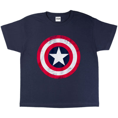 Marvel Avengers Assemble Captain America Distressed Shield Boys T-Shirt | Official Merchandise Front Image by Popgear