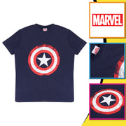 Marvel Avengers Assemble Captain America Distressed Shield Boys T-Shirt | Official Merchandise Back Image by Popgear