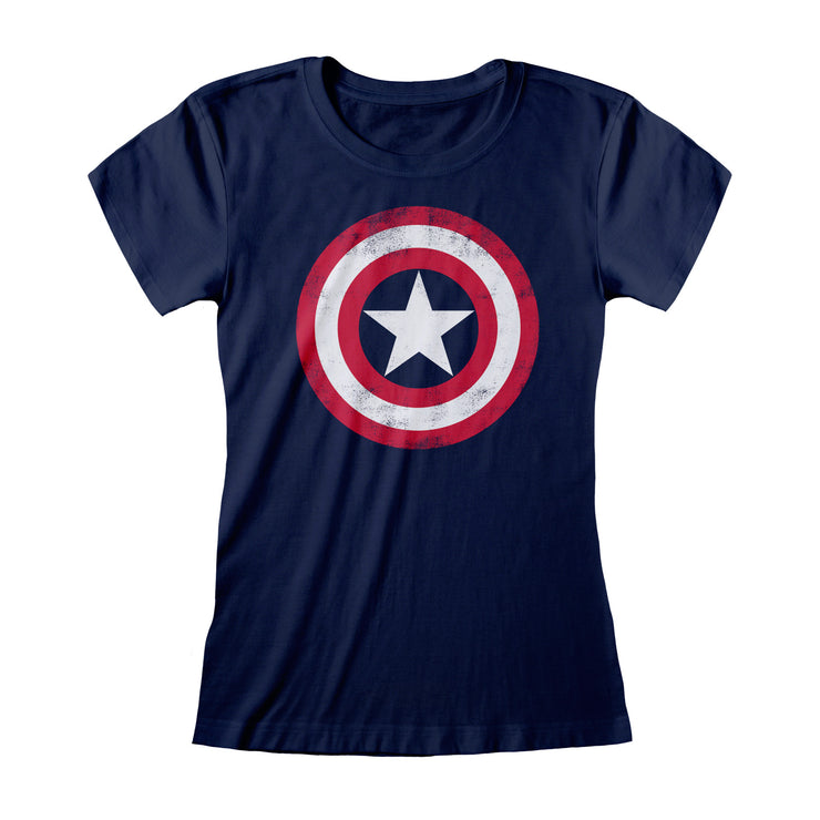 Marvel Avengers Assemble Captain America Distressed Shield Women's Fitted T-Shirt | Official Merchandise Front Image by Popgear