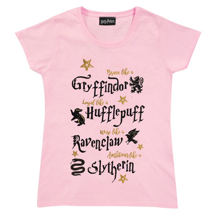 Harry Potter Brave Loyal Wise Ambitious Girls T-Shirt | Official Merchandise Front Image by Popgear
