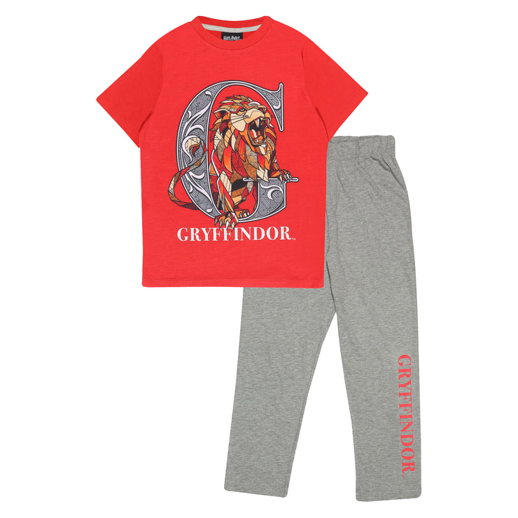 Harry Potter Gryffindor Boys Long Pyjamas Set | Official Merchandise Front Image by Popgear