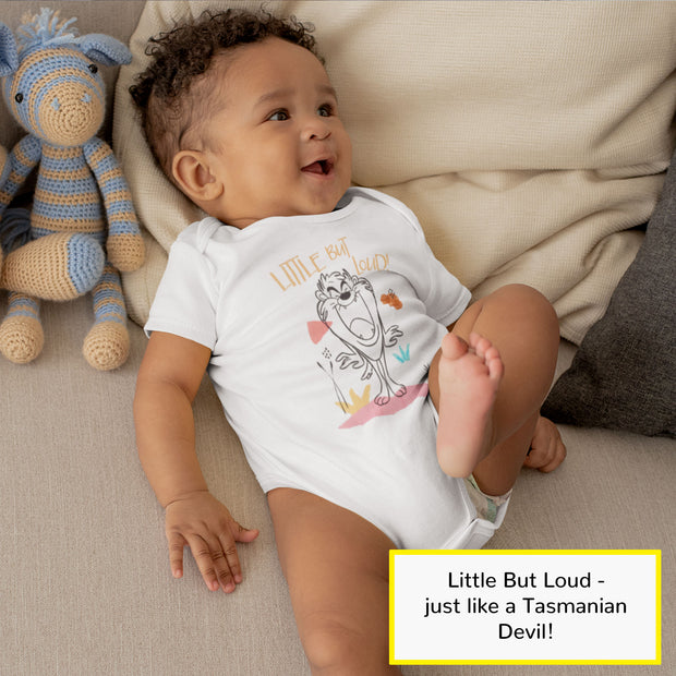 Looney Tunes Taz Little But Loud Baby Boys Romper | Official Merchandise Angle Image 1 by Popgear