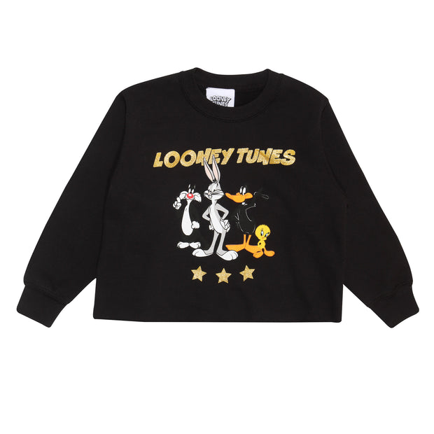 Looney Tunes Group Stars Girls Cropped Sweatshirt | Official Merchandise Front Image by Popgear